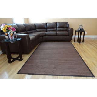 Hand-woven Brown Flatweave Rayon from Bamboo Rug (8' x 10')