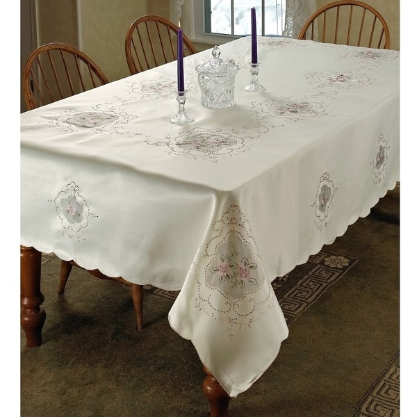 Fountainblu Pink Flower Embroided Tablecloth
