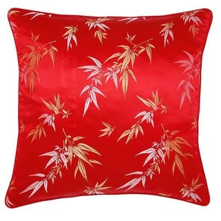 Handmade Red/ Gold Bamboo Leaves Throw Pillow Cover
