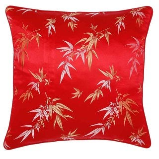 Handmade Red/ Gold Bamboo Print Leaves Throw Pillow Cover