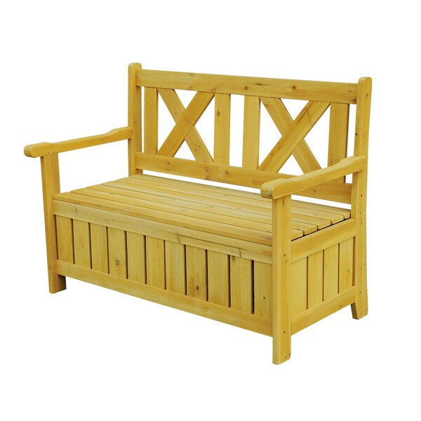 Brown Wooden Outdoor Storage Bench - 16159859 - Overstock.com Shopping ...