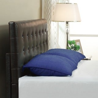 Button Tufted Synthetic Leather Upholstery Headboard