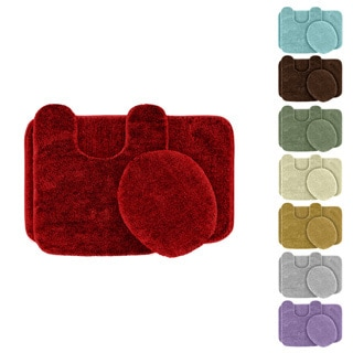 Plush Deluxe Washable 3-piece Bath Rug Set