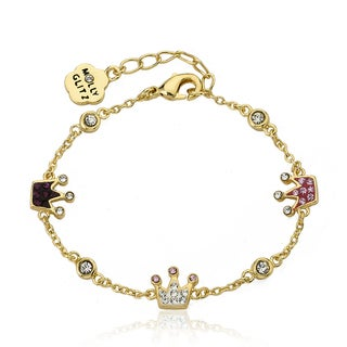 Molly Glitz 14k Yellow Goldplated Children's Crystal Crowns Chain Bracelet