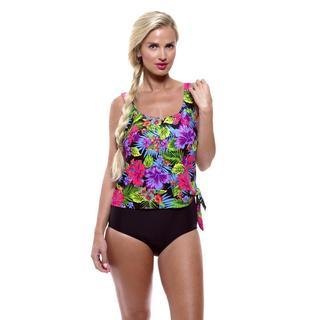 Island Pearl Women's Neon Tropics Faux One-piece Swimsuit