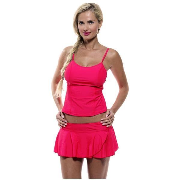 Antiqua Women's Cherry Red Tankini Top and Skirtini Bottom Swimsuit
