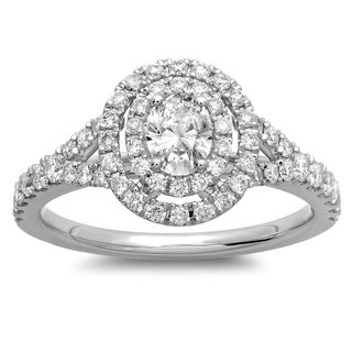14k White Gold 1ct TDW Oval Diamond Double Halo Engagement Ring (G-H, SI1-SI2)
