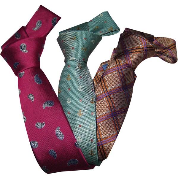 Dmitry Boy's Italian Silk Patterned Ties (Set of 3)