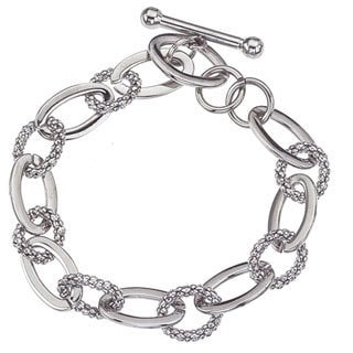 Stainless Steel Textured Oval Link Toggle Clasp Bracelet