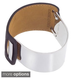 Stainless Steel and Black Leather Women's Cuff Bracelet