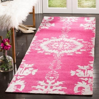 Safavieh Hand-knotted Stone Wash Fuchsia Wool/ Cotton Rug (2'6 x 8')