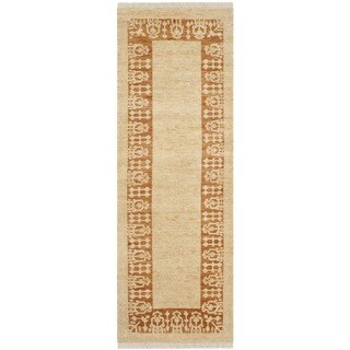 Safavieh Hand-knotted Peshawar Vegetable Dye Ivory/ Gold Wool Rug (3' x 10')