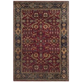 Safavieh Hand-knotted Farahan Sarouk Red/ Navy Wool Rug (6' x 9')
