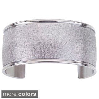 Stainless Steel Cuff Textured Bangle Bracelet