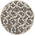 Safavieh Indoor/ Outdoor Moroccan Courtyard Anthracite/ Beige Rug (5' Round)