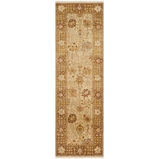 Safavieh Hand-knotted Peshawar Vegetable Dye Ivory/ Gold Wool Rug (3' x 12')