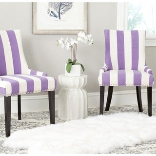 Safavieh Lester Lavender/White Stripe Polyester Blend Dining Chair (Set of 2)