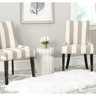 Safavieh Lester Taupe/White Stripe Polyester Blend Dining Chair (Set of 2)