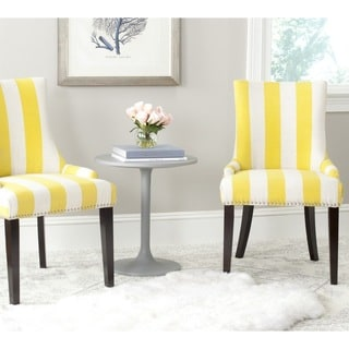 Safavieh Lester Yellow/White Stripe Polyester Blend Dining Chair (Set of 2)