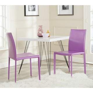 Safavieh Karna Purple Bonded Leather Dining Chair (Set of 2)