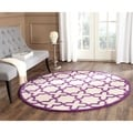 Safavieh Handmade Moroccan Cambridge Ivory/ Purple Wool Rug (6' Round)