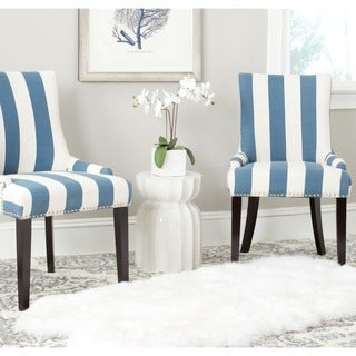Safavieh Lester Blue/White Stripe Polyester Blend Dining Chair (Set of 2)