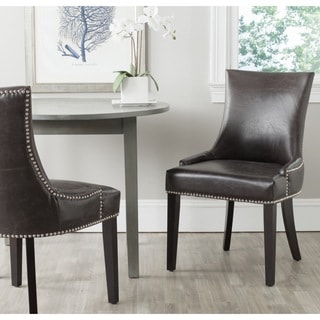 Safavieh Lester Antique Brown Bonded Leather Dining Chair (Set of 2)