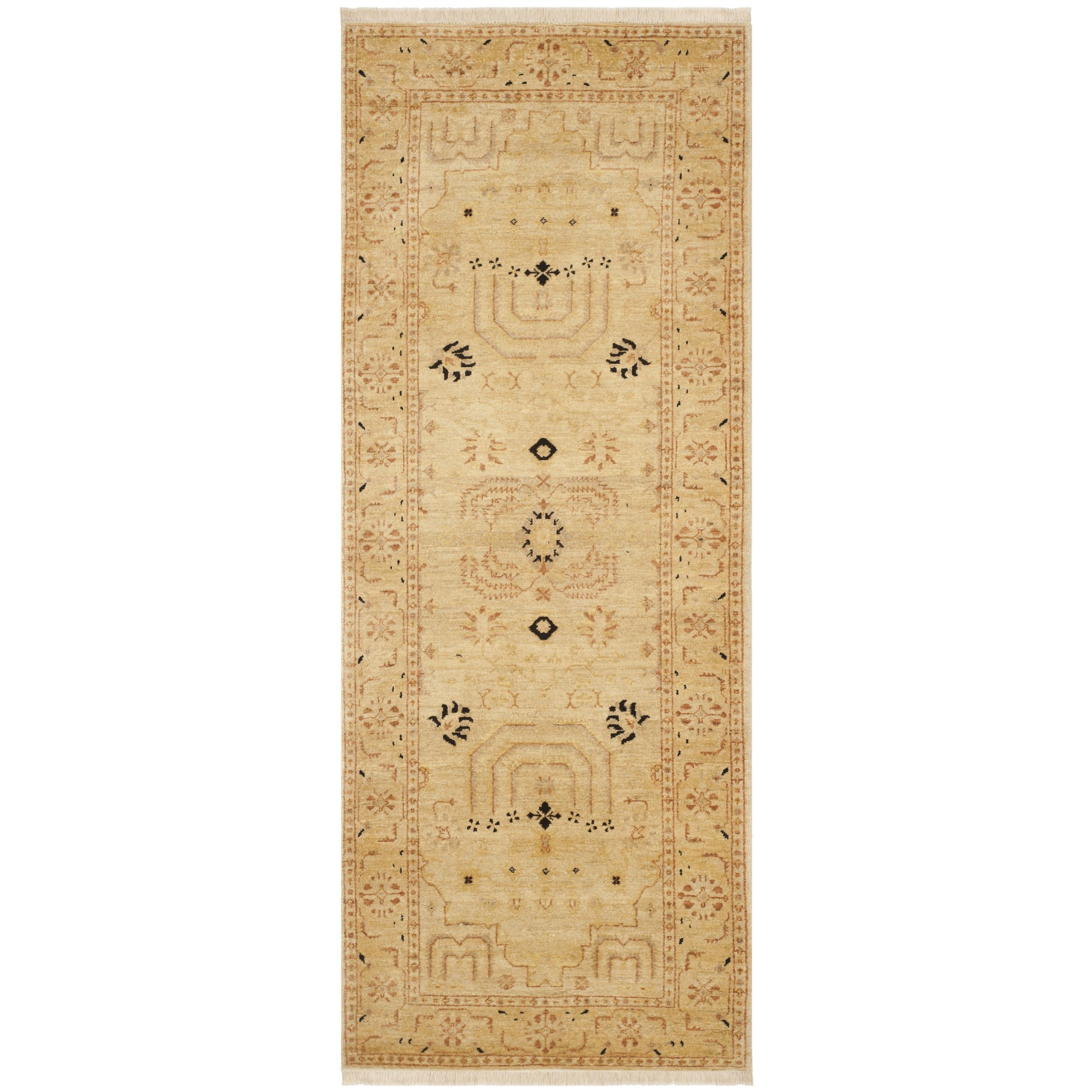Safavieh Hand-knotted Peshawar Vegetable Dye Ivory/ Ivory Wool Rug (3' x 12')