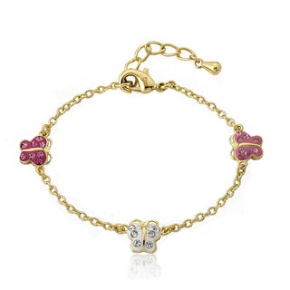 Molly Glitz 14k Goldplated Children's Crystal Butterfly Bracelet