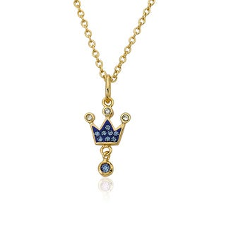 Molly Glitz 14k Goldplated Brass Children's Crystal and Enamel Crown Pendant Necklace