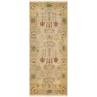 Safavieh Hand-knotted Peshawar Vegetable Dye Ivory/ Gold Wool Rug (3' x 14')