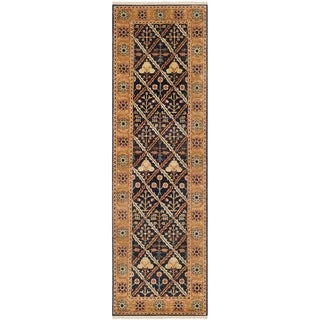 Safavieh Hand-knotted Peshawar Vegetable Dye Navy/ Gold Wool Rug (3' x 14')