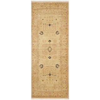 Safavieh Hand-knotted Peshawar Vegetable Dye Ivory/ Ivory Wool Rug (3' x 16')