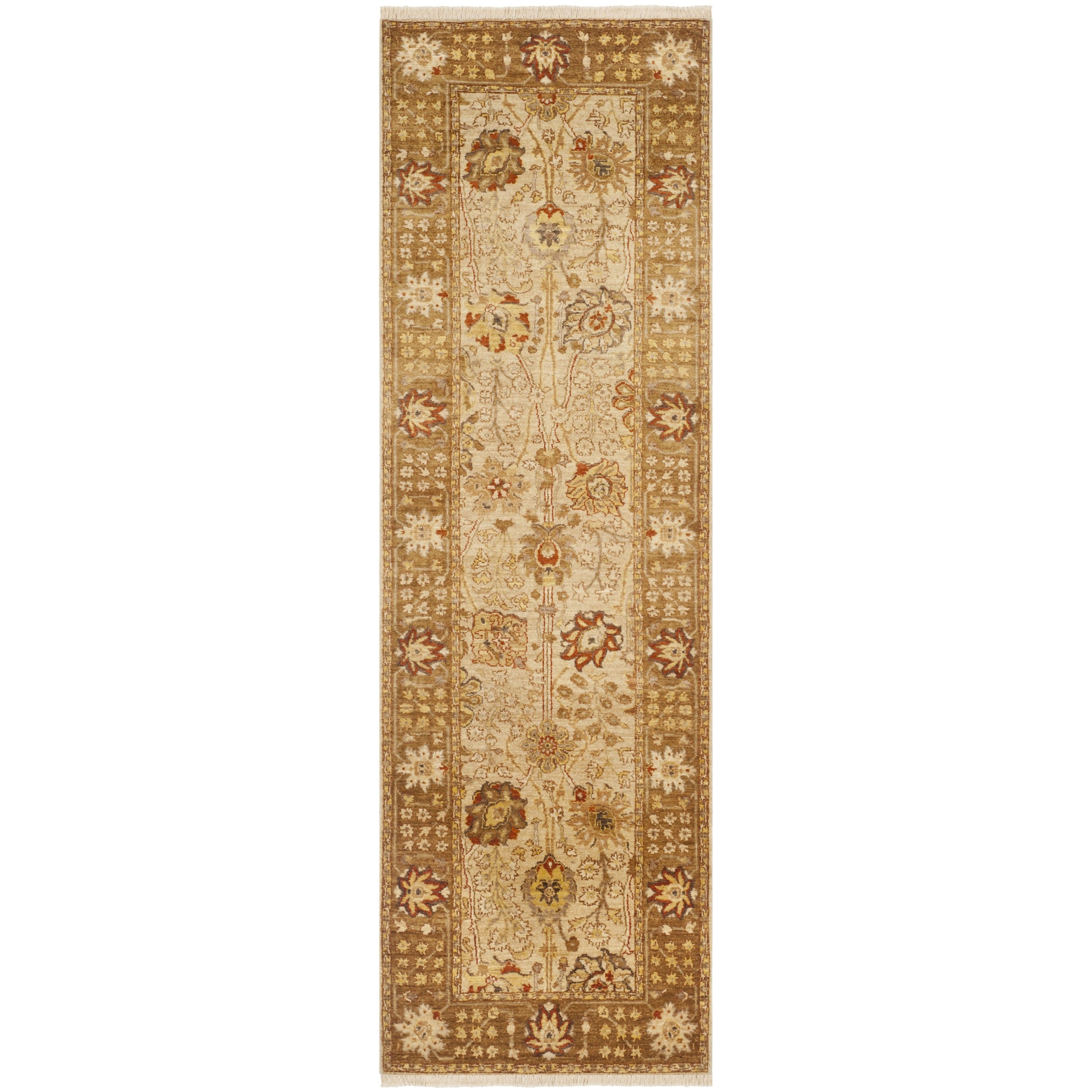 Safavieh Hand-knotted Peshawar Vegetable Dye Ivory/ Gold Wool Rug (3' x 18')