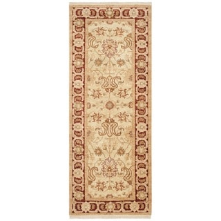 Safavieh Hand-knotted Peshawar Vegetable Dye Ivory/ Red Wool Rug (3' x 18')