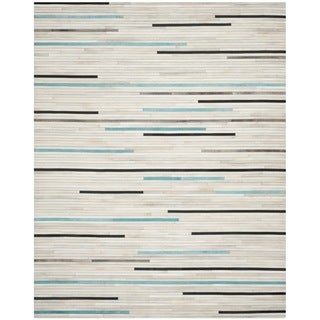 Safavieh Hand-woven Studio Leather Grey Leather Rug (8' x 10')