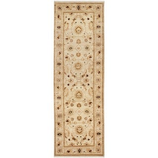 Safavieh Hand-knotted Peshawar Vegetable Dye Ivory/ Caramel Wool Rug (3' x 18')