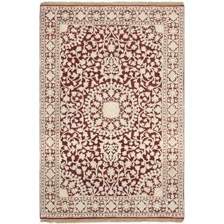 Safavieh Hand-knotted Ganges River Red/ Ivory Wool Rug (4' x 6')
