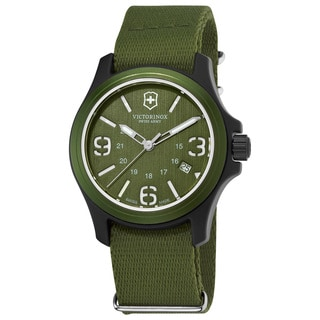 Swiss Army Men's 241514 'Original' Green Dial Green Fabric Strap Quartz Watch