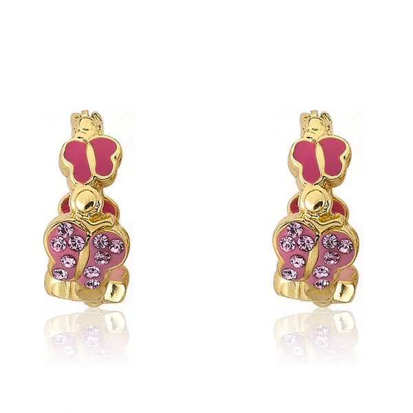 Molly Glitz 14k Goldplated Brass Children's Hot Pink Enamel and Crystal Butterfly Hoop Earrings