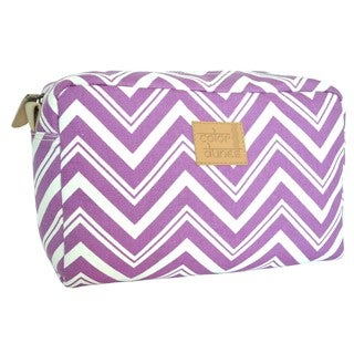 Color Dunes Orchid Chevron Print Canvas Cosmetic Pouch
