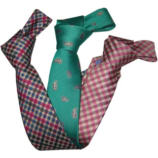 Dmitry Boy's Italian Silk Patterned Ties (Set of 3)