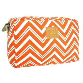 Color Dunes Tangerine Orange Chevron Print Canvas Cosmetic Pouch