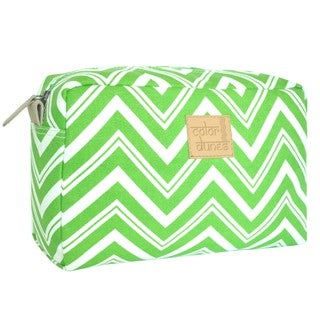 Color Dunes Lime Green Chevron Print Canvas Cosmetic Pouch