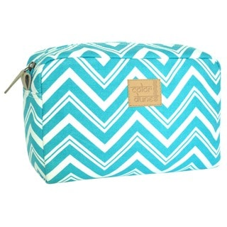 Color Dunes Aqua Blue Chevron Print Canvas Pouch