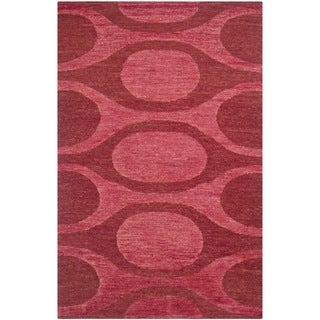 Safavieh Hand-knotted Santa Fe Modern Abstract Raspberry/ Red Wool Rug