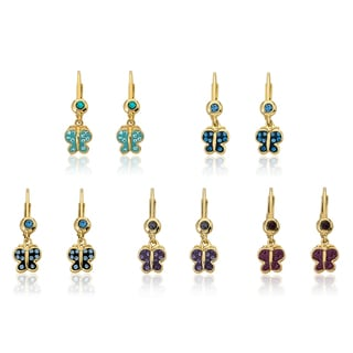 Molly Glitz 14k Goldplated Brass Crystal and Enamel Butterfly Leverback Earrings