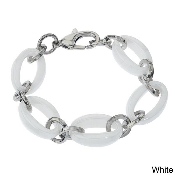 White or Black Ceramic and Stainless Steel Large Link Bracelet