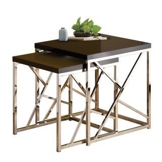 Gloss Black Top Nesting Table Set (Set of 2)