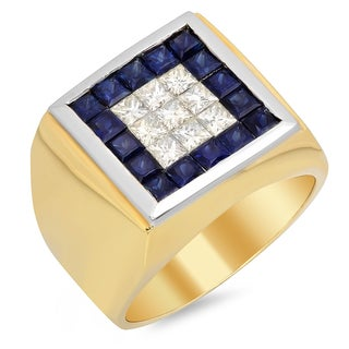 14k Yellow Gold Men's 1 1/3ct TDW Diamond and Sapphire Ring (F-G, SI1)